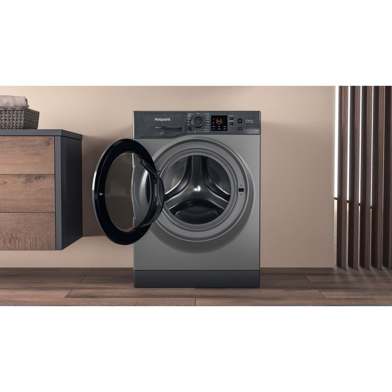 Hotpoint-Washing-machine-Free-standing-NSWR-742U-GK-UK-N-Graphite-Front-loader-E-Lifestyle-frontal-open