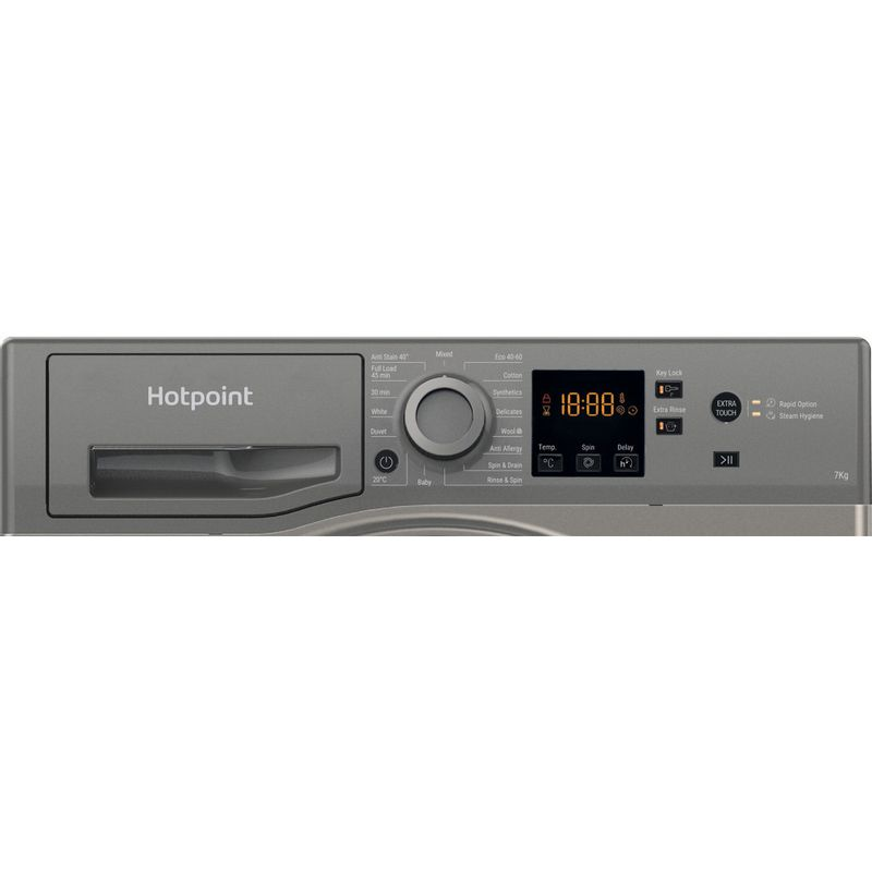 Hotpoint-Washing-machine-Free-standing-NSWR-742U-GK-UK-N-Graphite-Front-loader-E-Control-panel