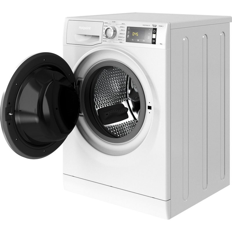 Hotpoint-Washing-machine-Free-standing-NLLCD-1044-WD-AW-UK-N-White-Front-loader-B-Perspective-open