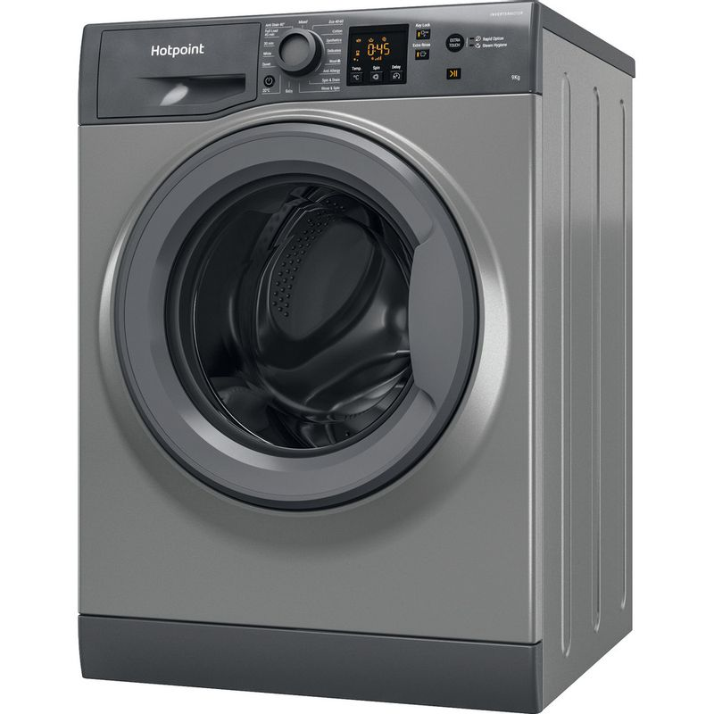 Hotpoint-Washing-machine-Free-standing-NSWR-963C-GK-UK-N-Graphite-Front-loader-D-Perspective