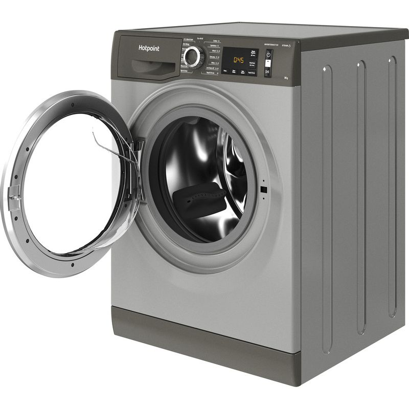 Hotpoint-Washing-machine-Free-standing-NM11-844-GC-A-UK-N-Graphite-Front-loader-B-Perspective-open