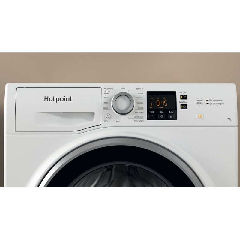 Hotpoint-Washing-machine-Free-standing-NSWE-742U-WS-UK-N-White-Front-loader-E-Lifestyle-control-panel