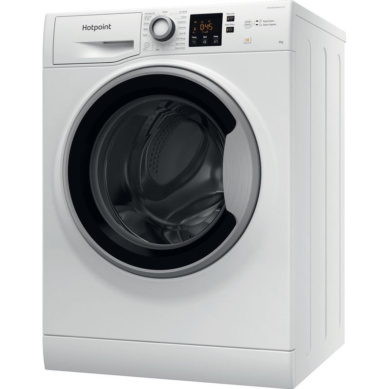 Hotpoint-Washing-machine-Free-standing-NSWE-963C-WS-UK-N-White-Front-loader-D-Perspective