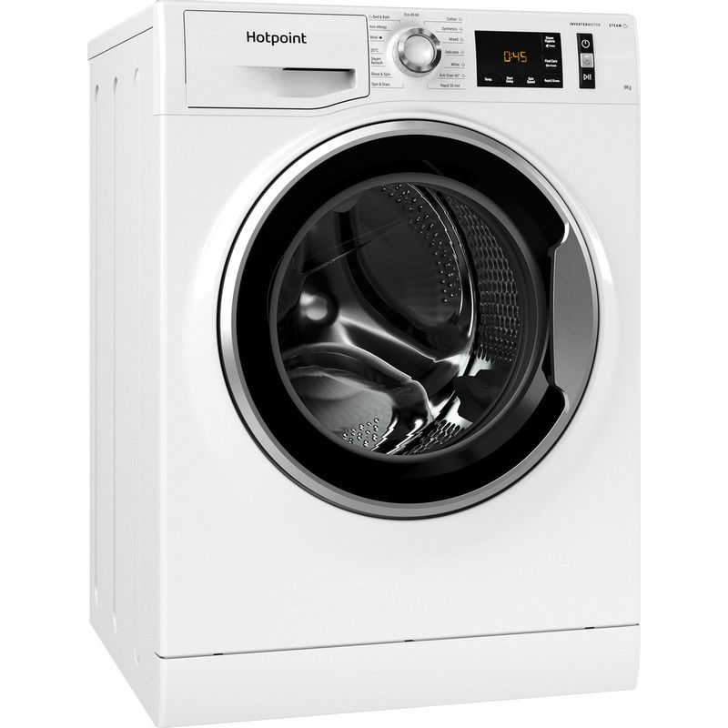Hotpoint-Washing-machine-Free-standing-NM11-945-WS-A-UK-N-White-Front-loader-B-Perspective