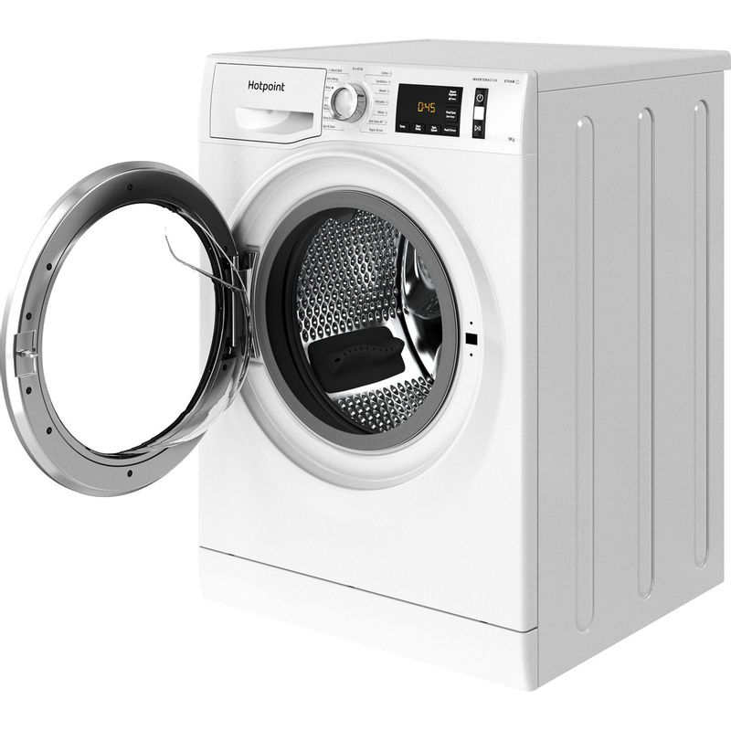 Hotpoint-Washing-machine-Free-standing-NM11-945-WS-A-UK-N-White-Front-loader-B-Perspective-open