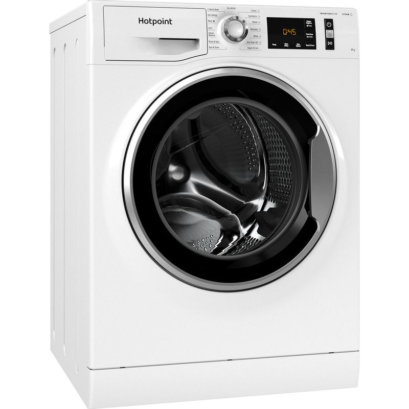Hotpoint-Washing-machine-Free-standing-NM11-844-WC-A-UK-N-White-Front-loader-B-Perspective