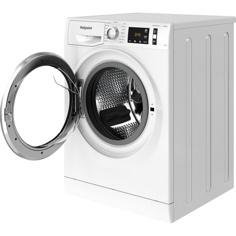 Hotpoint-Washing-machine-Free-standing-NM11-844-WC-A-UK-N-White-Front-loader-B-Perspective-open