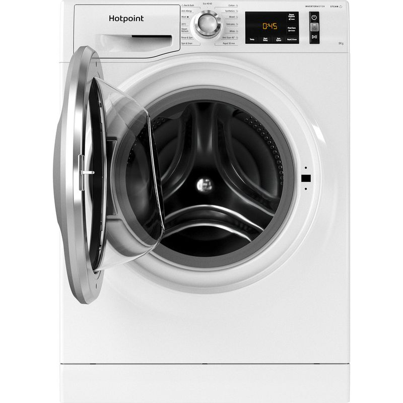 Hotpoint-Washing-machine-Free-standing-NM11-844-WC-A-UK-N-White-Front-loader-B-Frontal-open