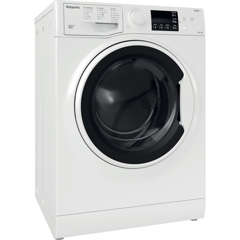 Hotpoint-Washer-dryer-Free-standing-RDGE-9643-W-UK-N-White-Front-loader-Perspective