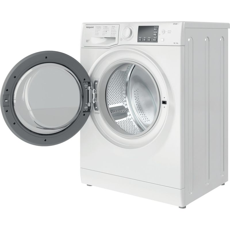 Hotpoint-Washer-dryer-Free-standing-RDGE-9643-W-UK-N-White-Front-loader-Perspective-open