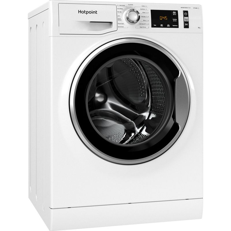 Hotpoint-Washing-machine-Free-standing-NM11-945-WC-A-UK-N-White-Front-loader-B-Perspective