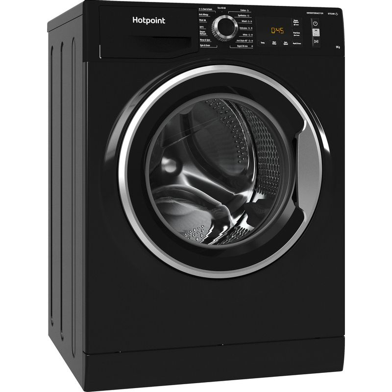 Hotpoint-Washing-machine-Free-standing-NM11-945-BC-A-UK-N-Black-Front-loader-B-Perspective