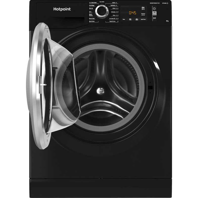Hotpoint-Washing-machine-Free-standing-NM11-945-BC-A-UK-N-Black-Front-loader-B-Frontal-open