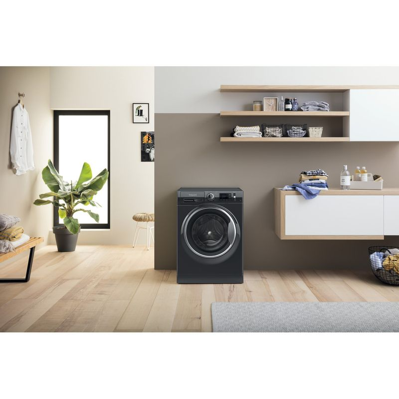 Hotpoint-Washing-machine-Free-standing-NM11-945-BC-A-UK-N-Black-Front-loader-B-Lifestyle-frontal
