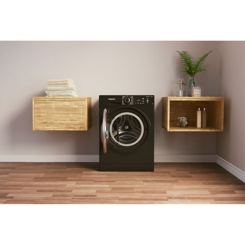 Hotpoint-Washing-machine-Free-standing-NM11-945-BC-A-UK-N-Black-Front-loader-B-Lifestyle-frontal-open