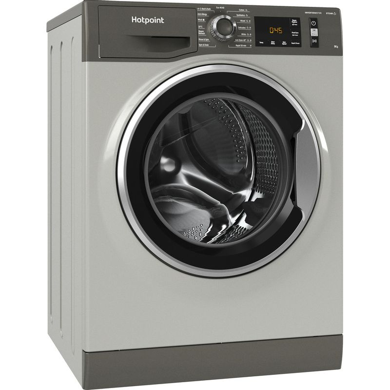 Hotpoint-Washing-machine-Free-standing-NM11-945-GC-A-UK-N-Graphite-Front-loader-B-Perspective