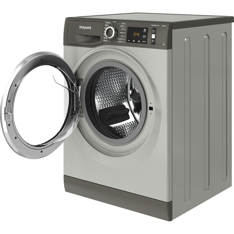 Hotpoint-Washing-machine-Free-standing-NM11-945-GC-A-UK-N-Graphite-Front-loader-B-Perspective-open