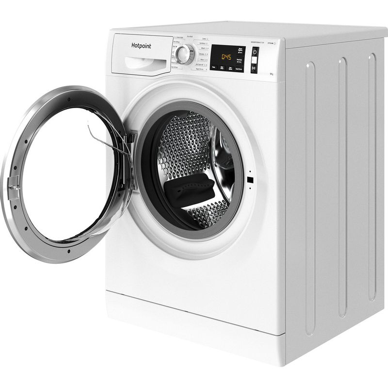 Hotpoint-Washing-machine-Free-standing-NM11-964-WC-A-UK-N-White-Front-loader-C-Perspective-open