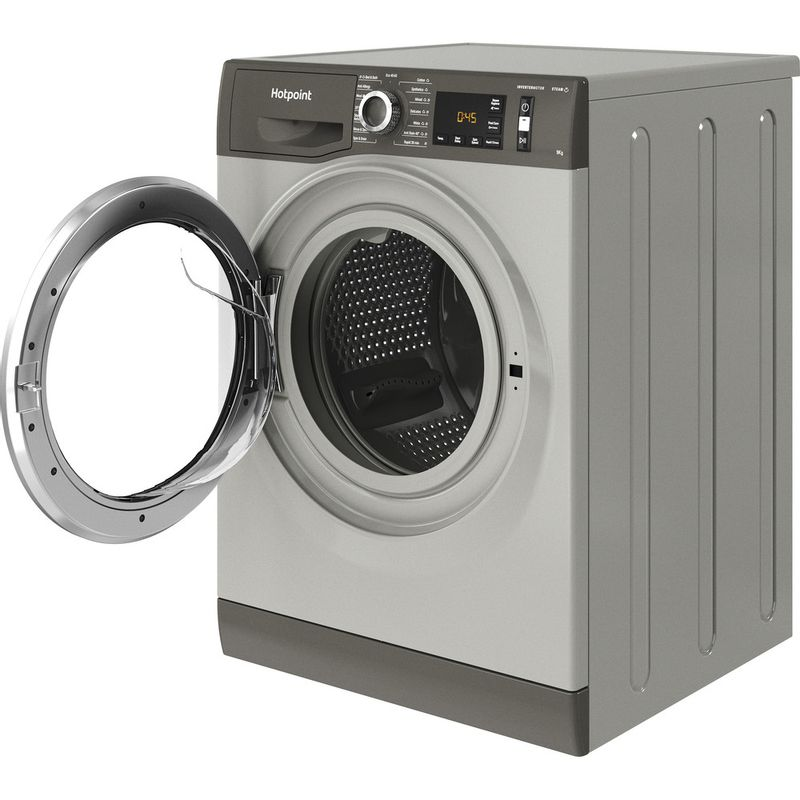 Hotpoint-Washing-machine-Free-standing-NM11-964-GC-A-UK-N-Graphite-Front-loader-C-Perspective-open