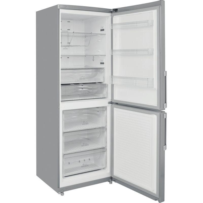 Hotpoint-Fridge-Freezer-Free-standing-NFFUD-191-X-1-Optic-Inox-2-doors-Perspective-open