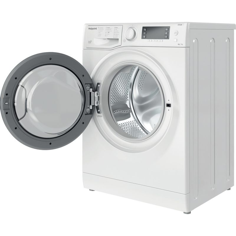 Hotpoint-Washer-dryer-Free-standing-RD-1076-JD-UK-N-White-Front-loader-Perspective-open