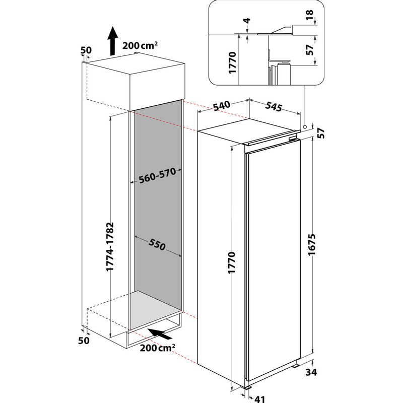 Hotpoint-Refrigerator-Built-in-HSZ-18011-UK-White-Technical-drawing