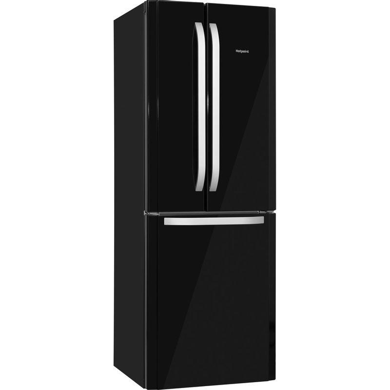 Hotpoint-Fridge-Freezer-Free-standing-FFU3D-K-1-Black-3-doors-Perspective