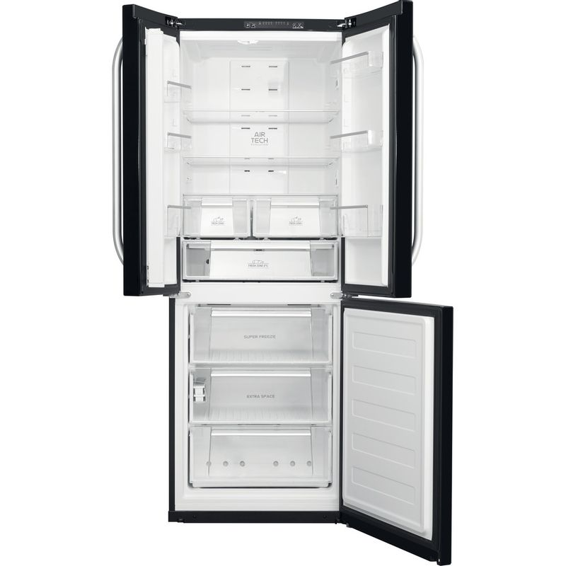Hotpoint-Fridge-Freezer-Free-standing-FFU3D-K-1-Black-3-doors-Frontal-open