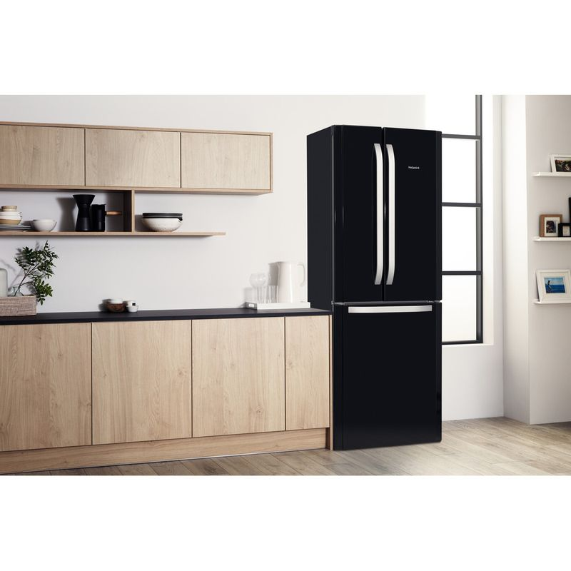 Hotpoint-Fridge-Freezer-Free-standing-FFU3D-K-1-Black-3-doors-Lifestyle-perspective