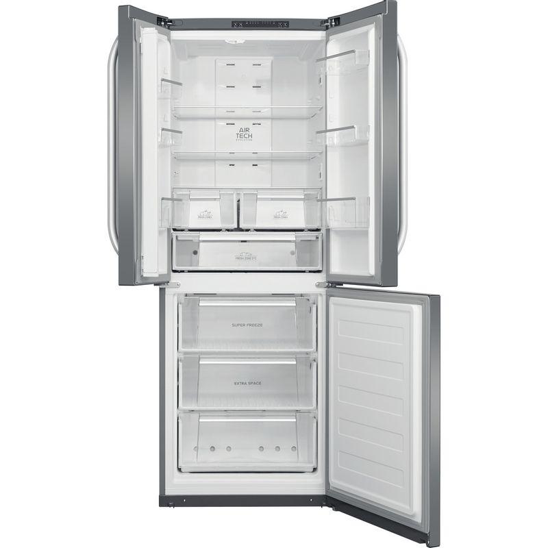 Hotpoint-Fridge-Freezer-Free-standing-FFU3D-X-1-Inox-3-doors-Frontal-open