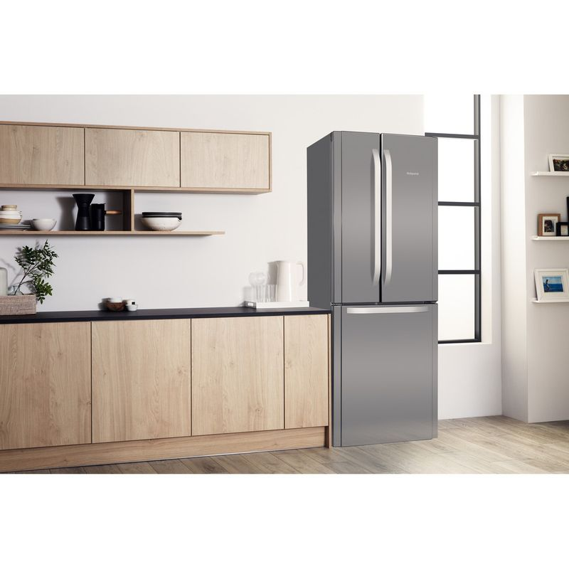 Hotpoint-Fridge-Freezer-Free-standing-FFU3D-X-1-Inox-3-doors-Lifestyle-perspective