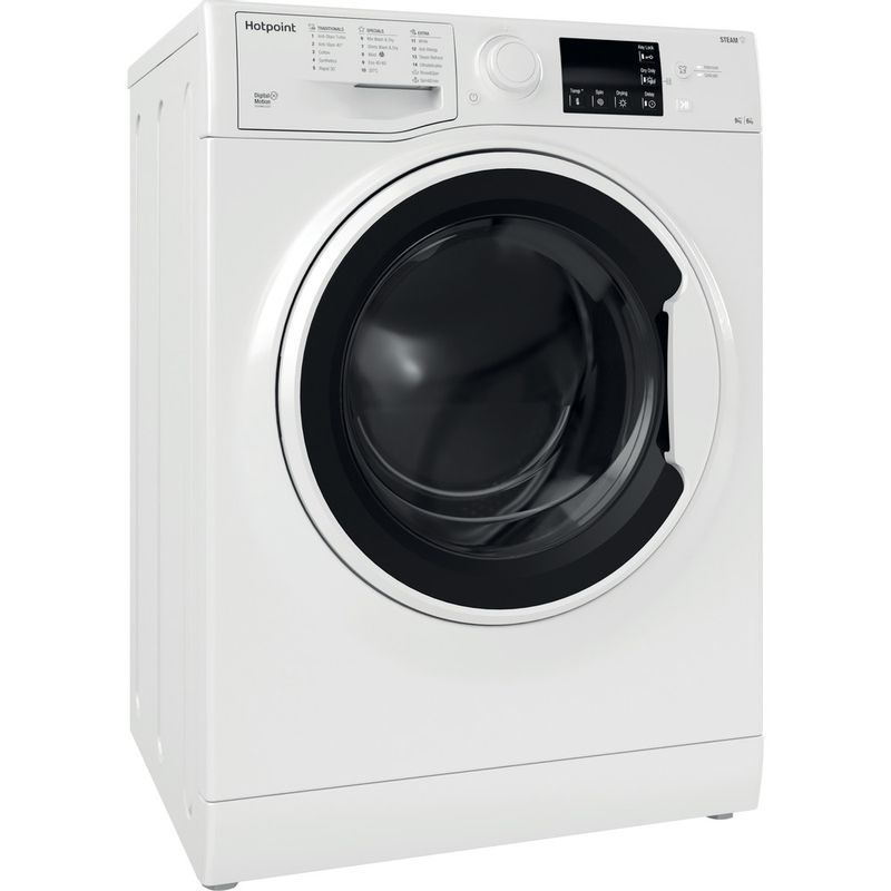 Hotpoint-Washer-dryer-Free-standing-RDG-9643-W-UK-N-White-Front-loader-Perspective
