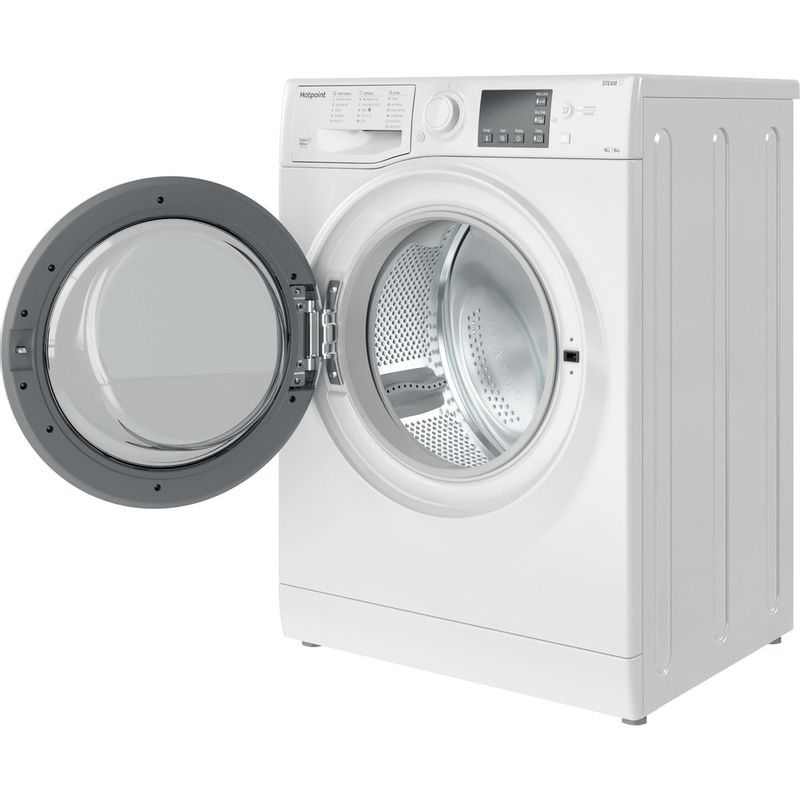 Hotpoint-Washer-dryer-Free-standing-RDG-9643-W-UK-N-White-Front-loader-Perspective-open