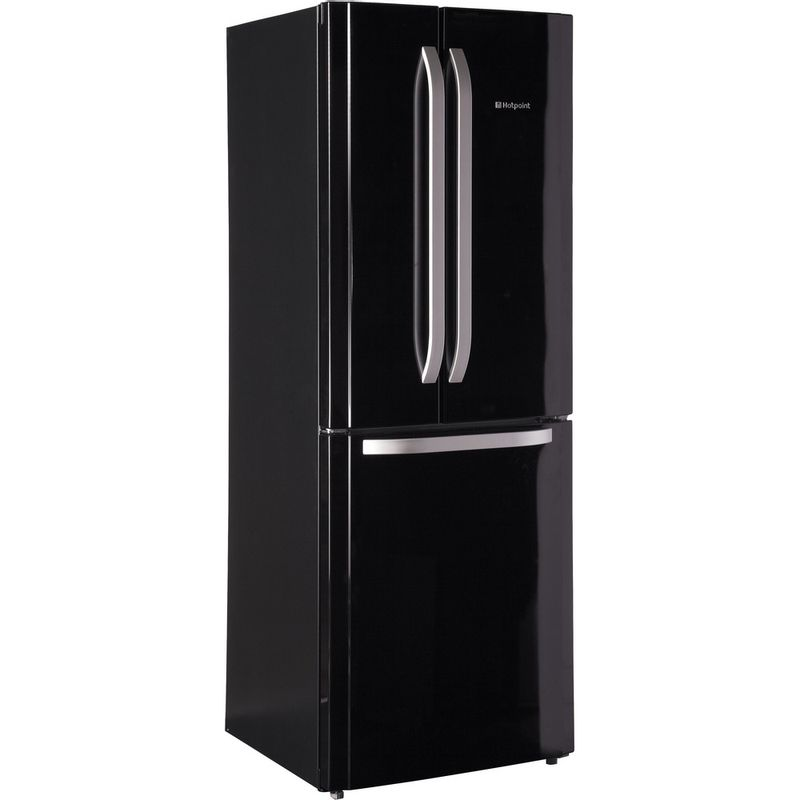 Hotpoint-Fridge-Freezer-Free-standing-FFU3DG-K-1-Black-2-doors-Perspective