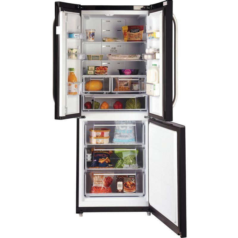 Hotpoint-Fridge-Freezer-Free-standing-FFU3DG-K-1-Black-2-doors-Frontal-open
