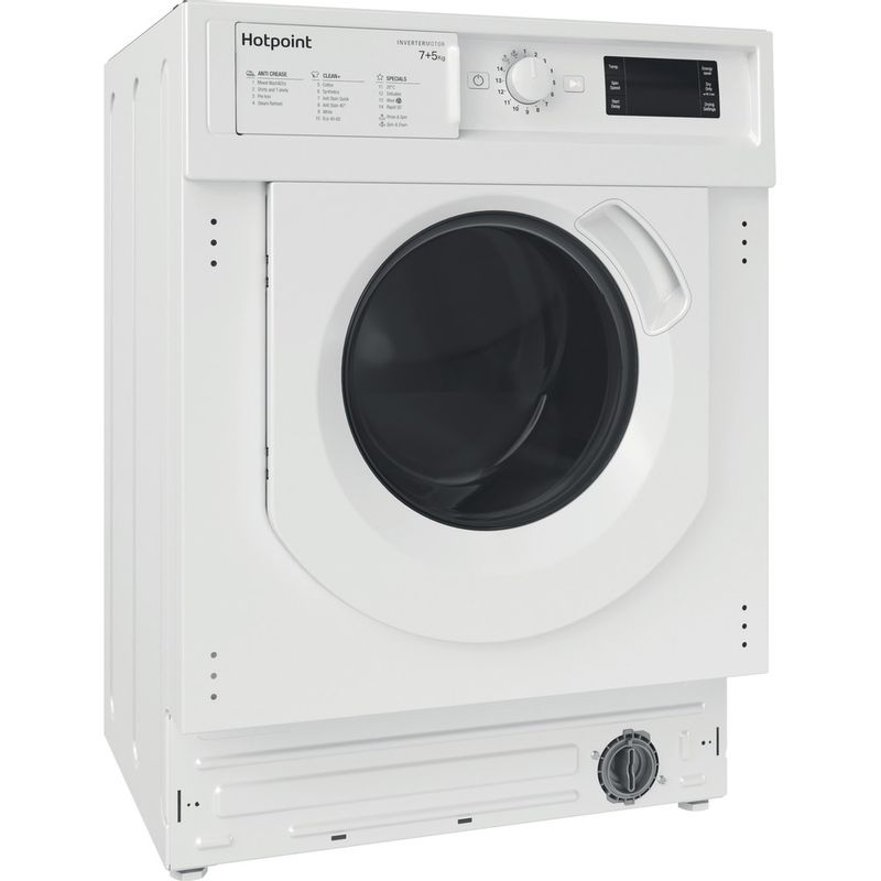 Hotpoint-Washer-dryer-Built-in-BI-WDHG-75148-UK-N-White-Front-loader-Perspective
