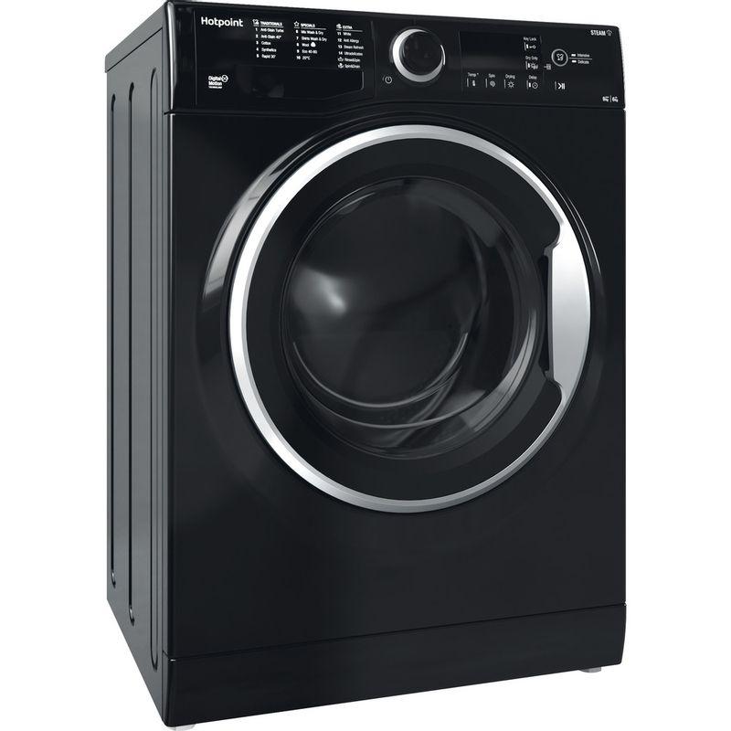 Hotpoint-Washer-dryer-Free-standing-RDGR-9662-KS-UK-N-Black-Front-loader-Perspective