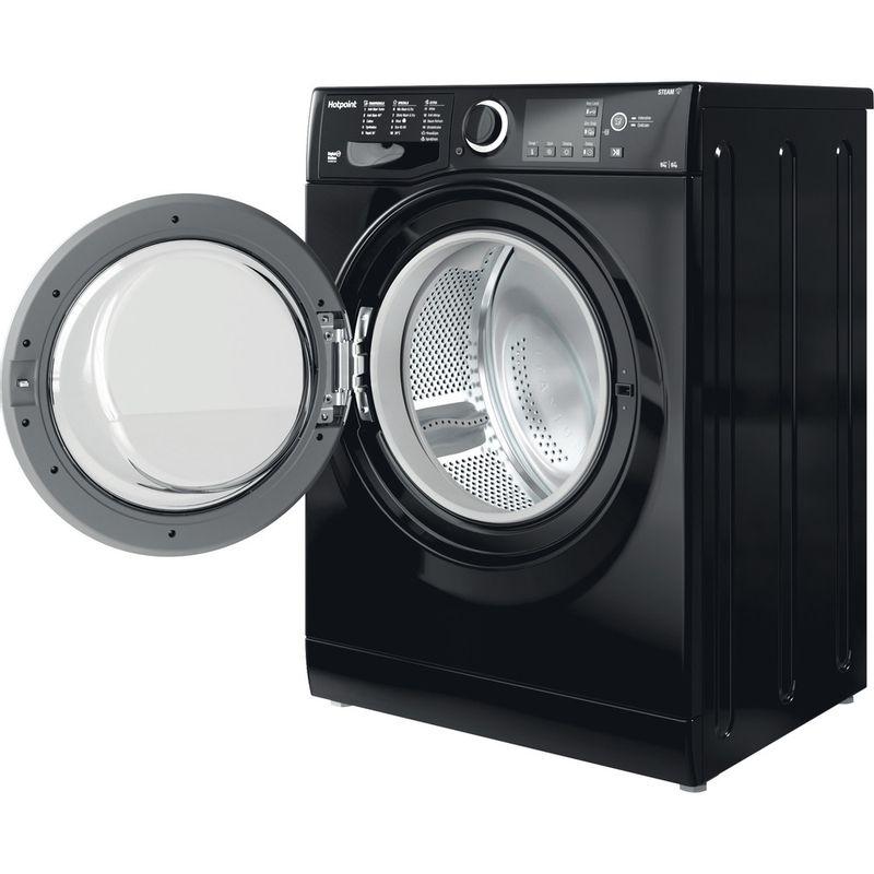 Hotpoint-Washer-dryer-Free-standing-RDGR-9662-KS-UK-N-Black-Front-loader-Perspective-open