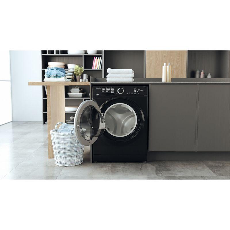 Hotpoint-Washer-dryer-Free-standing-RDGR-9662-KS-UK-N-Black-Front-loader-Lifestyle-frontal-open
