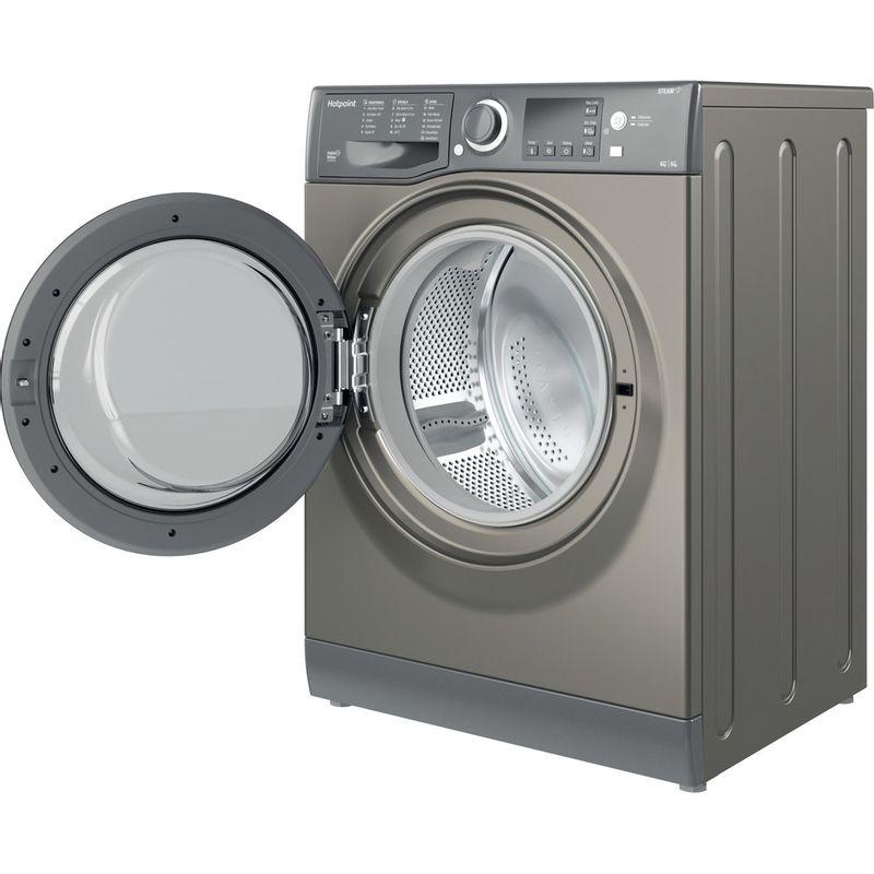 Hotpoint-Washer-dryer-Free-standing-RDG-9643-GK-UK-N-Graphite-Front-loader-Perspective-open