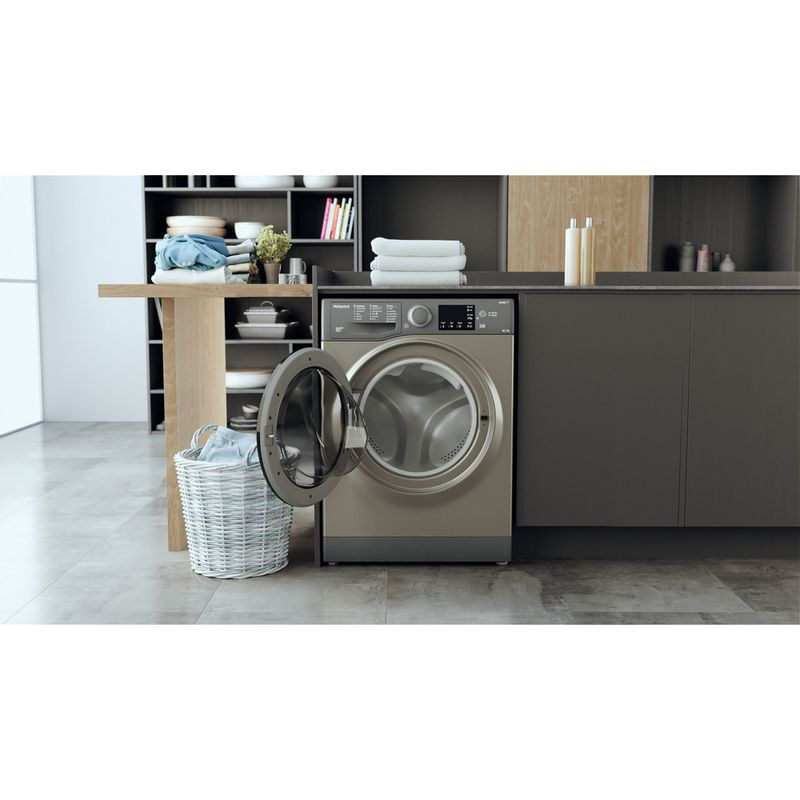 Hotpoint-Washer-dryer-Free-standing-RDG-9643-GK-UK-N-Graphite-Front-loader-Lifestyle-frontal-open