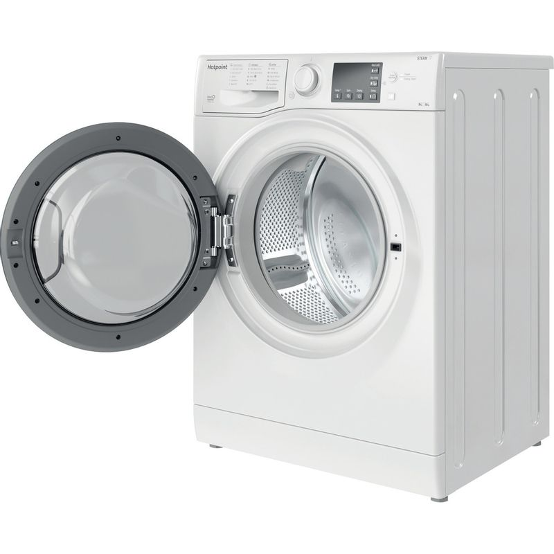 Hotpoint-Washer-dryer-Free-standing-RD-964-JD-UK-N-White-Front-loader-Perspective-open