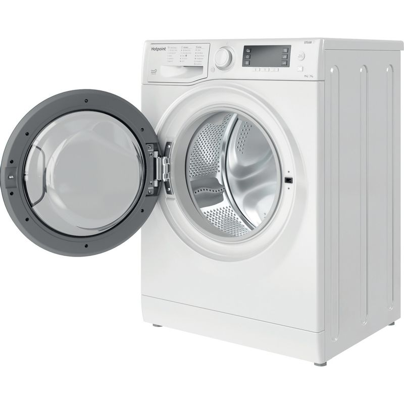 Hotpoint-Washer-dryer-Free-standing-RD-1176-JD-UK-N-White-Front-loader-Perspective-open