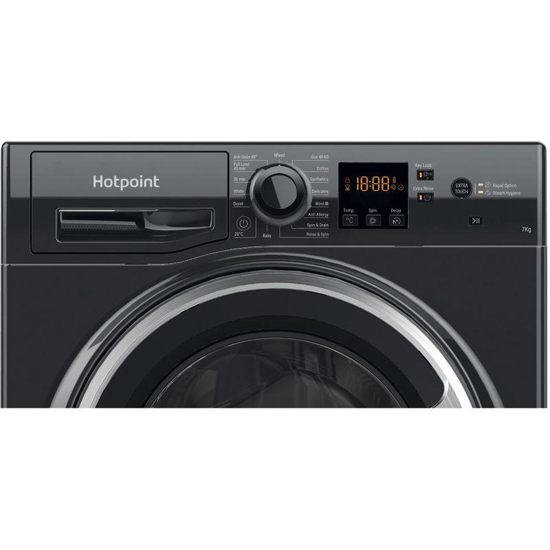 Hotpoint-Washing-machine-Free-standing-NSWF-742U-BS-UK-N-Black-Front-loader-E-Control-panel