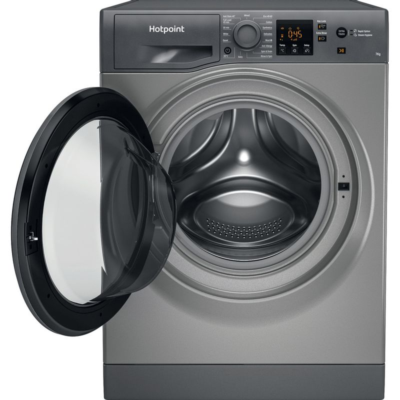Hotpoint-Washing-machine-Free-standing-NSWF-742U-GG-UK-N-Graphite-Front-loader-E-Frontal-open