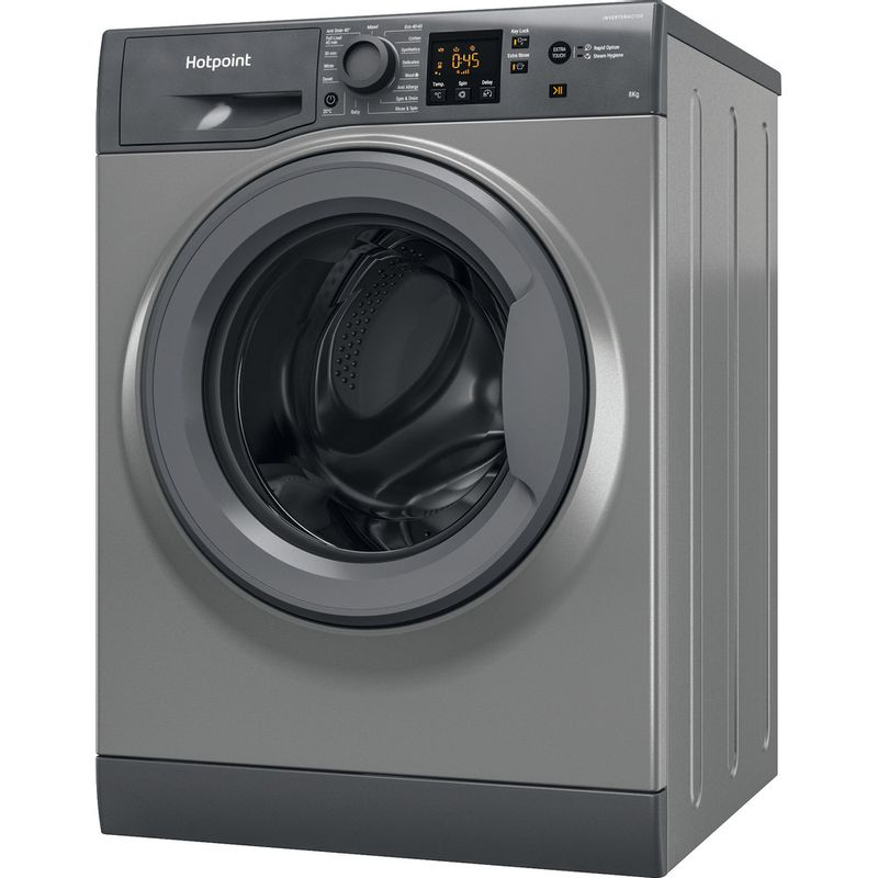 Hotpoint-Washing-machine-Free-standing-NSWM-843C-GG-UK-N-Graphite-Front-loader-D-Perspective