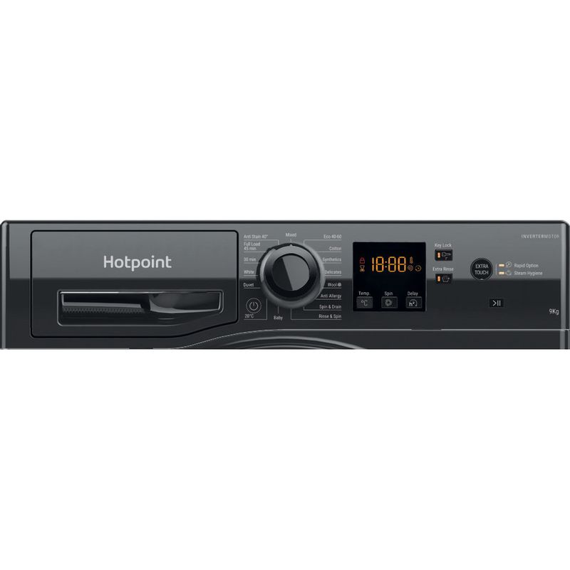 Hotpoint-Washing-machine-Free-standing-NSWF-943C-BS-UK-N-Black-Front-loader-D-Control-panel