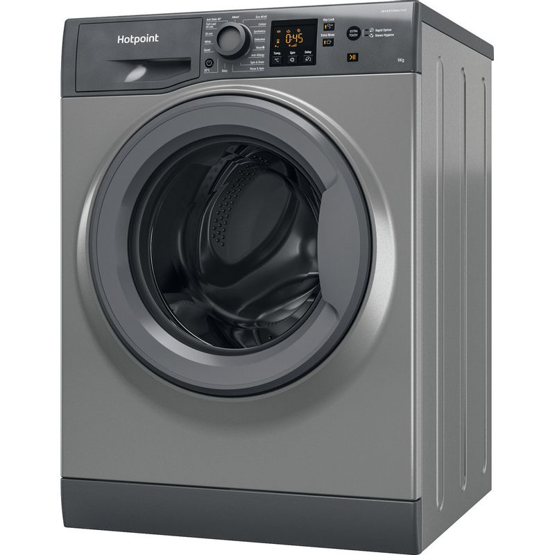 Hotpoint-Washing-machine-Free-standing-NSWF-943C-GG-UK-N-Graphite-Front-loader-D-Perspective