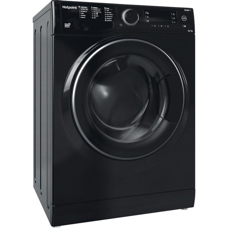 Hotpoint-Washer-dryer-Free-standing-RD-966-JKD-UK-N-Black-Front-loader-Perspective