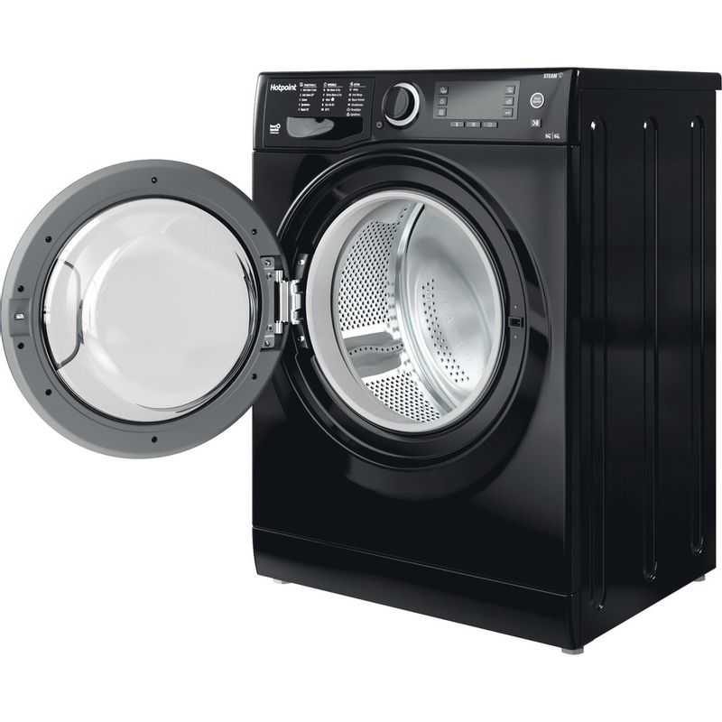 Hotpoint-Washer-dryer-Free-standing-RD-966-JKD-UK-N-Black-Front-loader-Perspective-open
